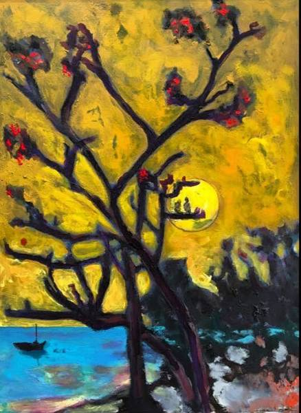 Painting -    Evening At The Cove by Dilip Sheth