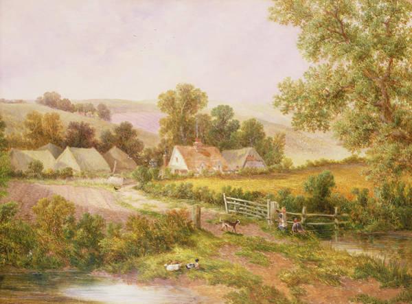 Hamlet Painting -  Farmyard Scene by C L Boes