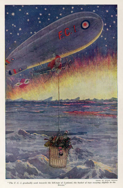 Wall Art - Drawing -  Father Christmas Uses An  Airship by Mary Evans Picture Library