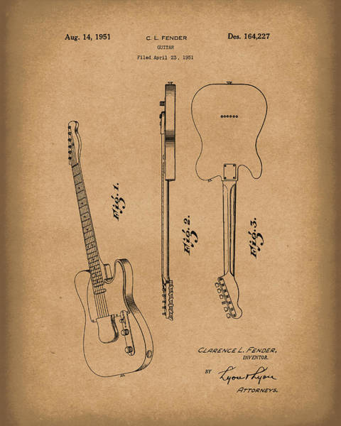 Drawing -  Fender Guitar 1951 Patent Art Brown by Prior Art Design