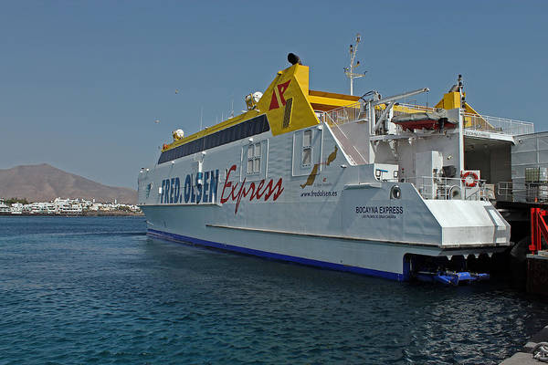 Photograph -  Ferry In Corralejo Harbour by Tony Murtagh