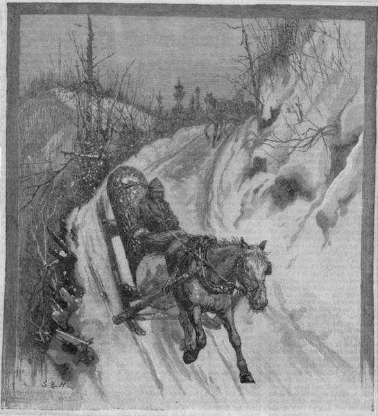 Log Drawing -  Fetching The Yule Log On A by Mary Evans Picture Library