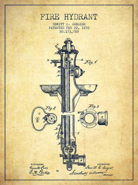 Fireman Wall Art - Digital Art -  Fire Hydrant Patent From 1876 - Vintage by Aged Pixel