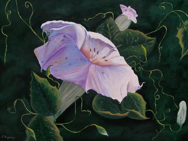 Painting -  First  Trumpet Flower  Of Summer by Sharon Duguay