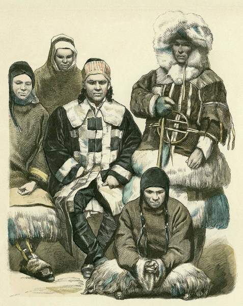 Nomad Drawing -  Five Nomads From The Amur Region by Mary Evans Picture Library