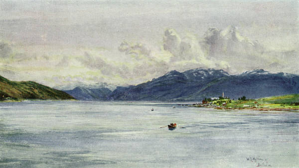 Fjord Drawing -  Fjord Scenery  Panoramic View Of by Mary Evans Picture Library