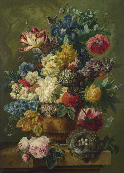 Pomegranates Painting -  Flowers In A Vase by Paulus Theodorus van Brussel
