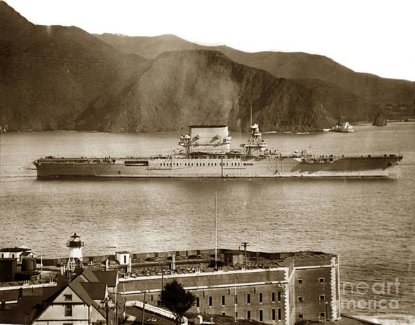 Photograph - U. S. S. Lexington Cv-2 Fort Point Golden Gate San Francisco Bay California 1928 by California Views Archives Mr Pat Hathaway Archives