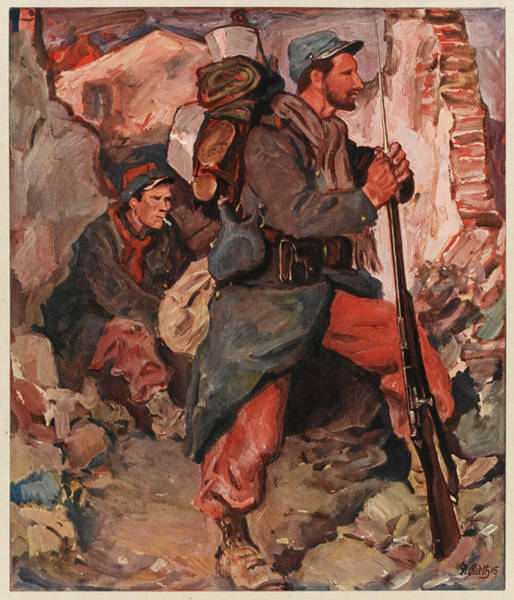 Infantryman Wall Art - Drawing -  French Infantrymen In A  Heavily by Mary Evans Picture Library