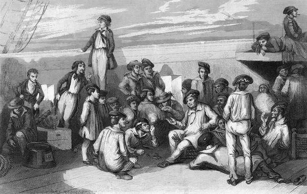 Duty Drawing -  French Sailors Off-duty Relax  On Deck by Mary Evans Picture Library