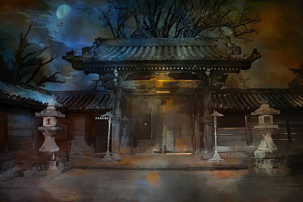 Temple Mixed Media -  Gate..asian  Moon. by Andrzej Szczerski