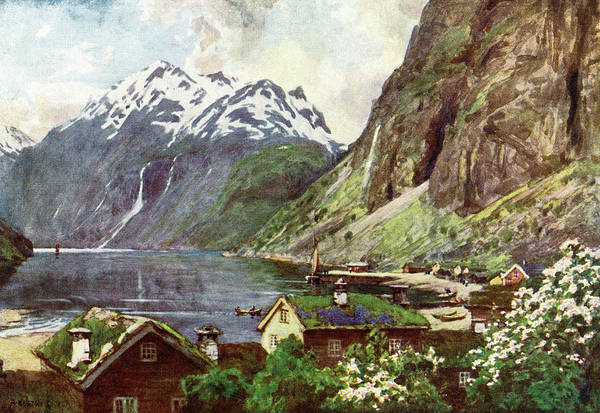 Fjord Drawing -  Geirangerfjord         Date 1914 by Mary Evans Picture Library