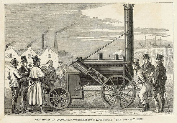 Rockets Drawing -  George Stephenson's Locomotive  'the by Mary Evans Picture Library