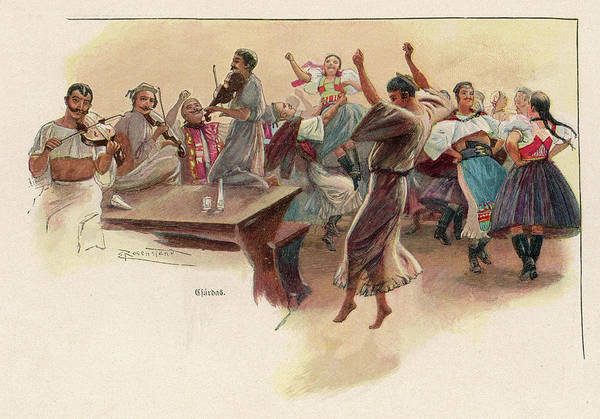 Traditional Dances Drawing -  Gipsy Men And Women Dance by Mary Evans Picture Library