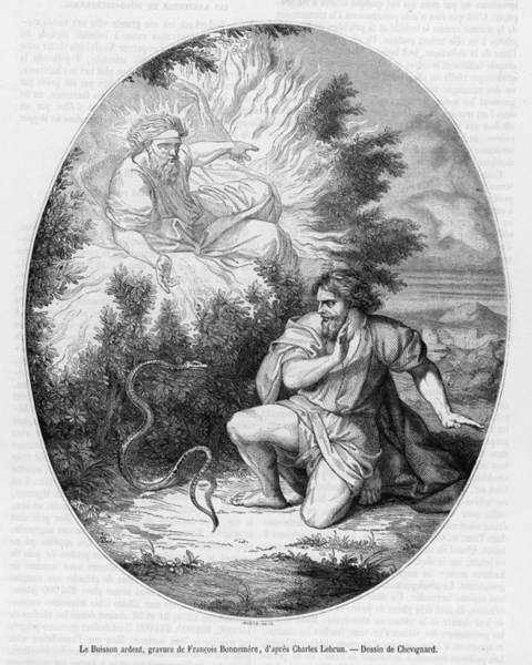 Wall Art - Drawing -  God Manifests To Moses In The  Form by Mary Evans Picture Library