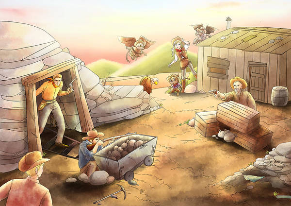 Painting -  Gold Mine Shootout by Reynold Jay