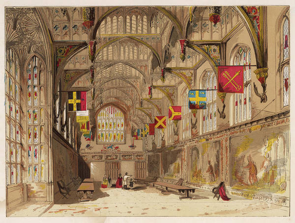 Royal Court Drawing -  Hampton Court Palace  Wolsey's Hall by Mary Evans Picture Library