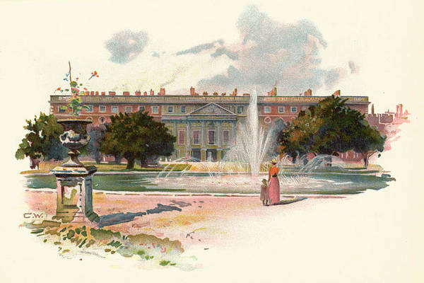 Royal Court Drawing -  Hampton Court,  With Fountain by Mary Evans Picture Library