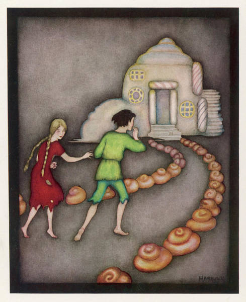Wall Art - Drawing -  Hansel And Gretel Follow The  Path by Mary Evans Picture Library