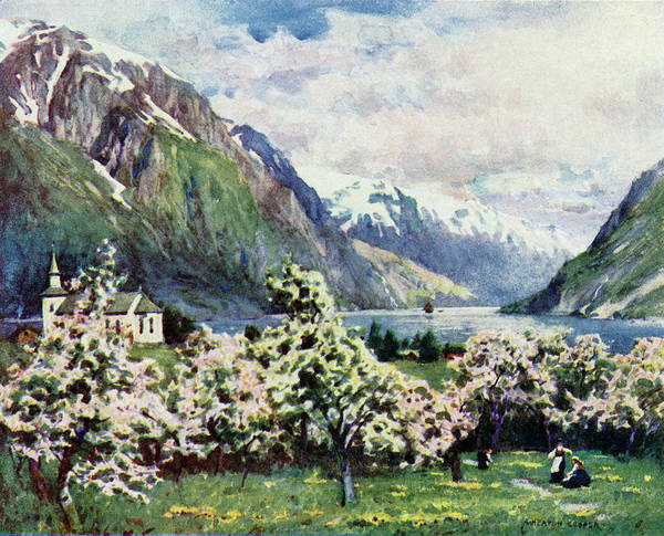 Fjord Drawing -  Hardangerfjord,  At Odde        Date by Mary Evans Picture Library