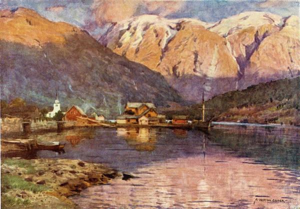 Fjord Drawing -  Hardangerfjord,  At Ulvik        Date by Mary Evans Picture Library