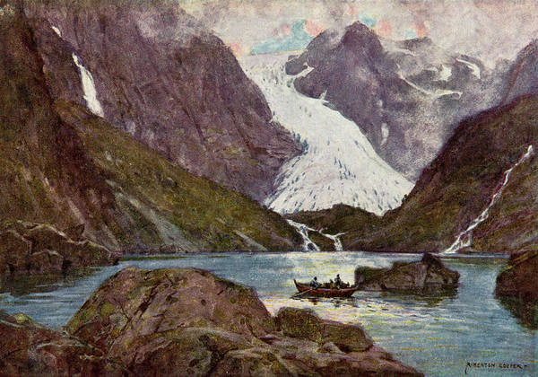 Fjord Drawing -  Hardangerfjord,  With Bondhus Glacier by Mary Evans Picture Library