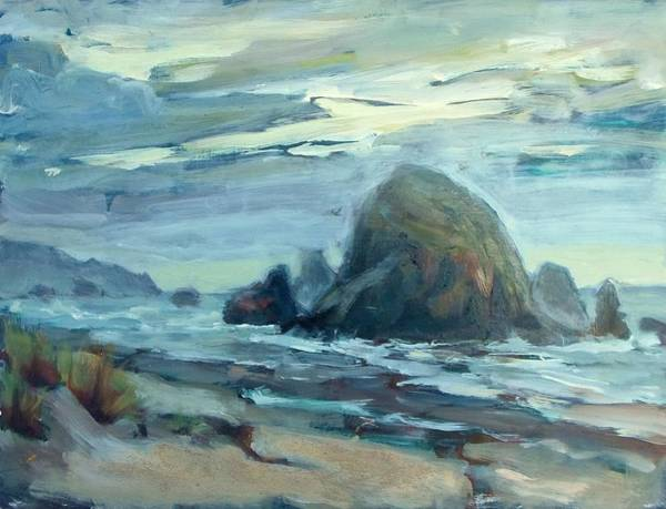 Cannon Beach Painting -  Haystack Rock At Cannon Beach by Margaret  Plumb