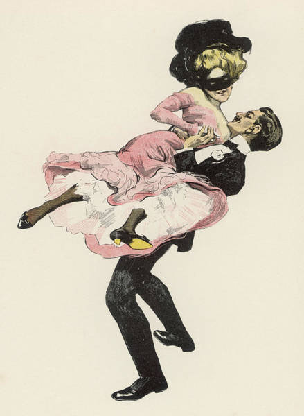 Wall Art - Drawing -  He Sweeps His Partner  Off Her Feet by Mary Evans Picture Library