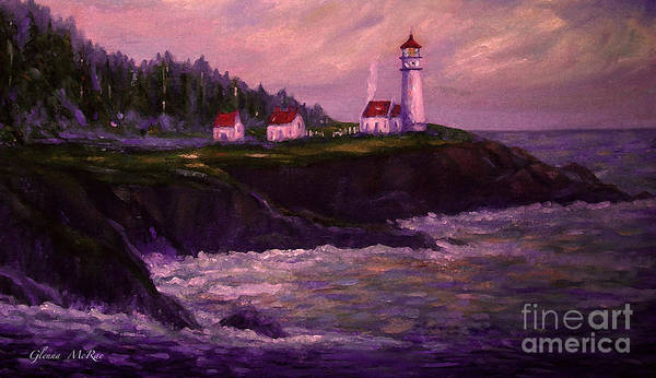 Northwest Florida Painting -  Heceta Head Lighthouse At Dawn's Early Light by Glenna McRae