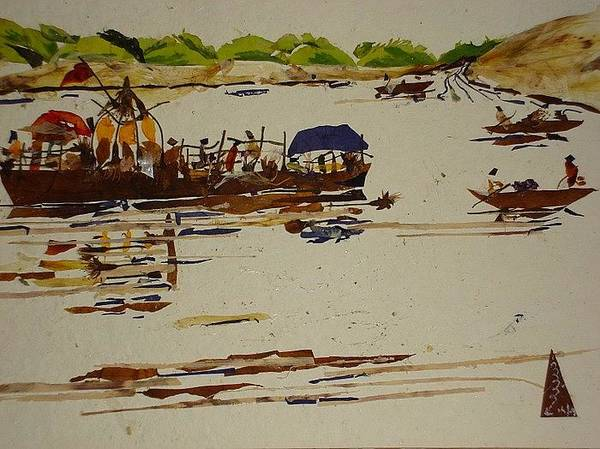 River Scene Mixed Media -  Holy Trip  by Basant Soni