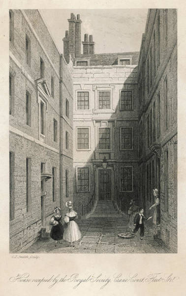 Royal Court Drawing -  House Occupied By The Royal  Society by Mary Evans Picture Library