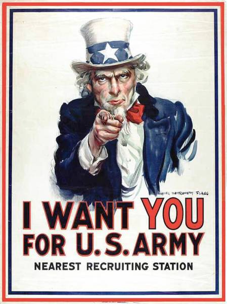 Propaganda Drawing -  I Want You For The Us Army Recruitment Poster During World War I by James Montgomery Flagg