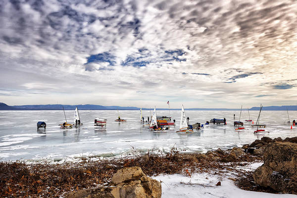 Photograph -  Ice Boats On Lake Pepin by Al  Mueller