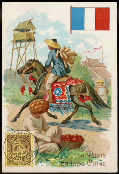 Vietnam Drawing -  In French Indo-china, The  Postman by Mary Evans Picture Library