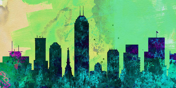 Wall Art - Painting -  Indianapolis City Skyline by Naxart Studio