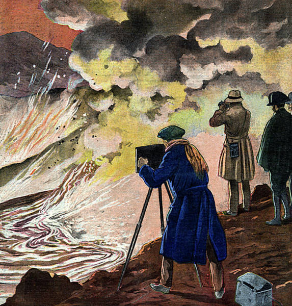 Lava Drawing -  Intrepid Cameramen Capture A by Mary Evans Picture Library