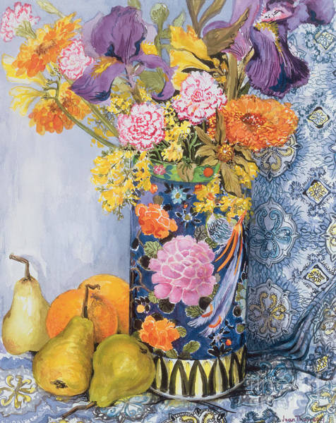Pear Painting -  Iris And Pinks In A Japanese Vase With Pears by Joan Thewsey