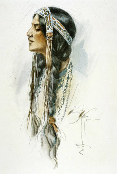 Wall Art - Drawing -  Iroquois Woman  In Profile        Date by Mary Evans Picture Library