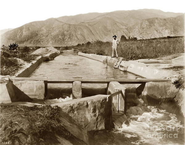 Photograph -  Irrigation Ditch California Circa 1906 by California Views Archives Mr Pat Hathaway Archives