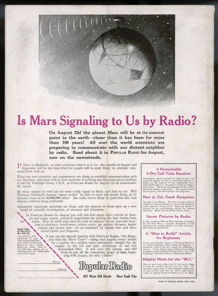 1924 Drawing -  Is Mars Signalling To Us ? by Mary Evans Picture Library
