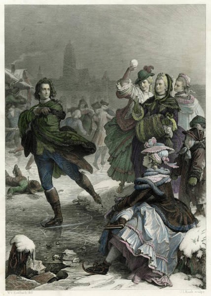 Wall Art - Drawing -  Johann Goethe Ice-skating In by Mary Evans Picture Library