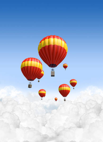 Hot Air Balloon Digital Art -  Joy Above The Clouds by Allan Swart