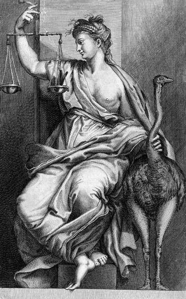Wall Art - Drawing -  Justice Holds The Scales by Mary Evans Picture Library