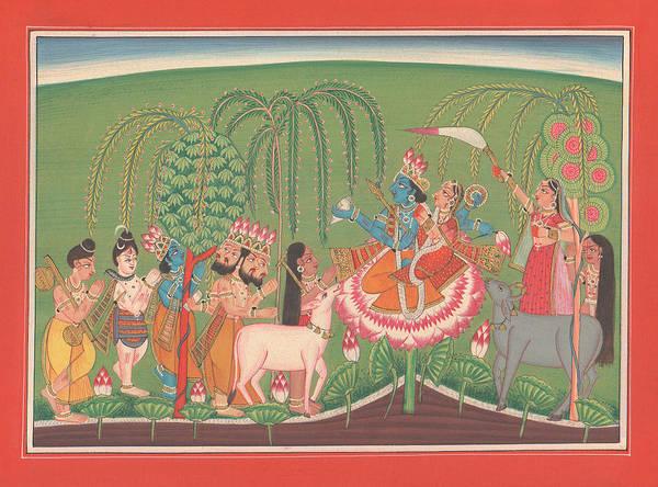 Wall Art - Painting -  Krishna Lila Hindu Supreme God  Bhagvat Geeta Veda Yoga Cow Iscon  by A K Mundhra
