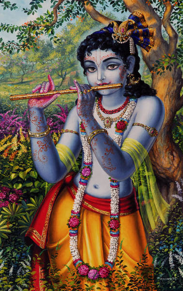 Parrot Painting -  Krishna With Flute  by Vrindavan Das