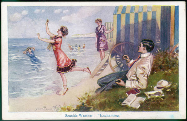 Beach Grass Drawing -  Ladies Emerge From Their  Bathing Huts by Mary Evans Picture Library