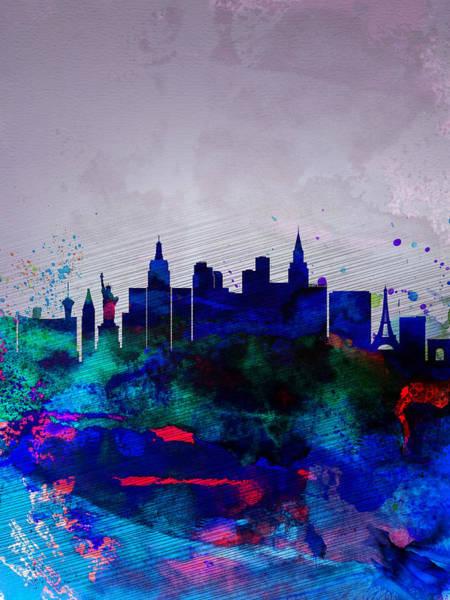 Las Vegas Wall Art - Painting -  Las Vegas Watercolor Skyline by Naxart Studio
