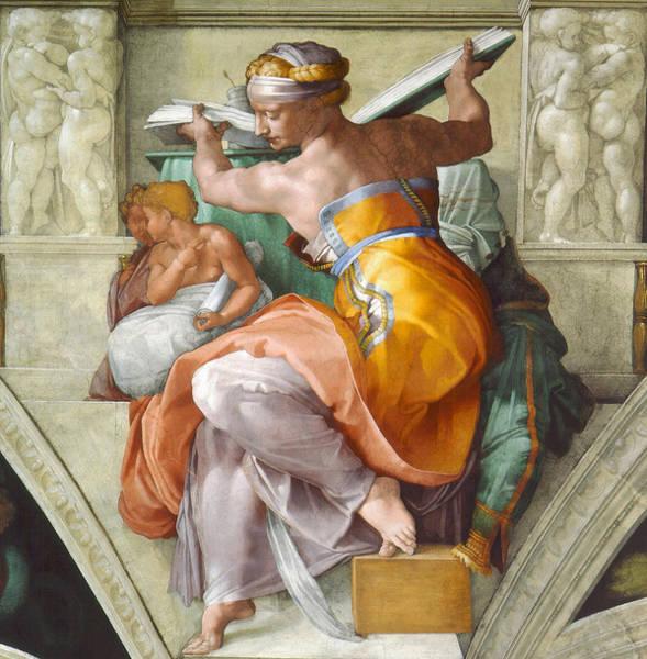 Buonarroti Wall Art - Painting -  Libyan Sibyl by Michelangelo di Lodovico Buonarroti Simoni