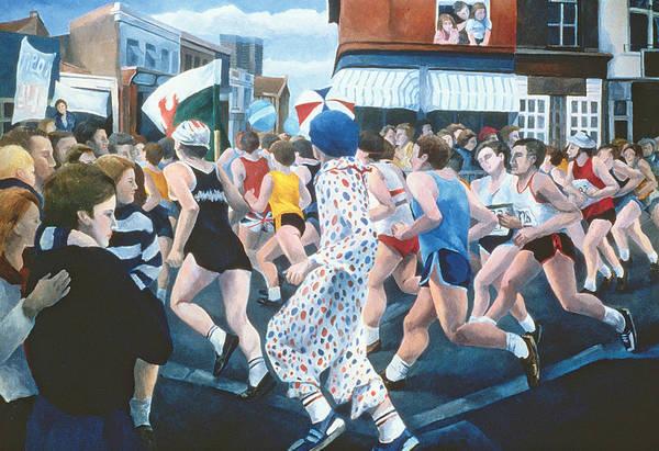 People Watching Painting -  London Marathon by Cristiana Angelini