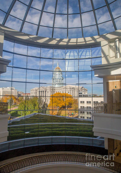 Copyright Wall Art - Photograph -  Looking Out Towards The Colorado State Capitol In Autumn by Bridget Calip